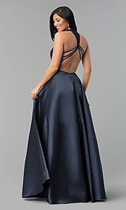 Image of long a-line prom dress with high-neck lace bodice. Style: AL-60060 Detail Image 2