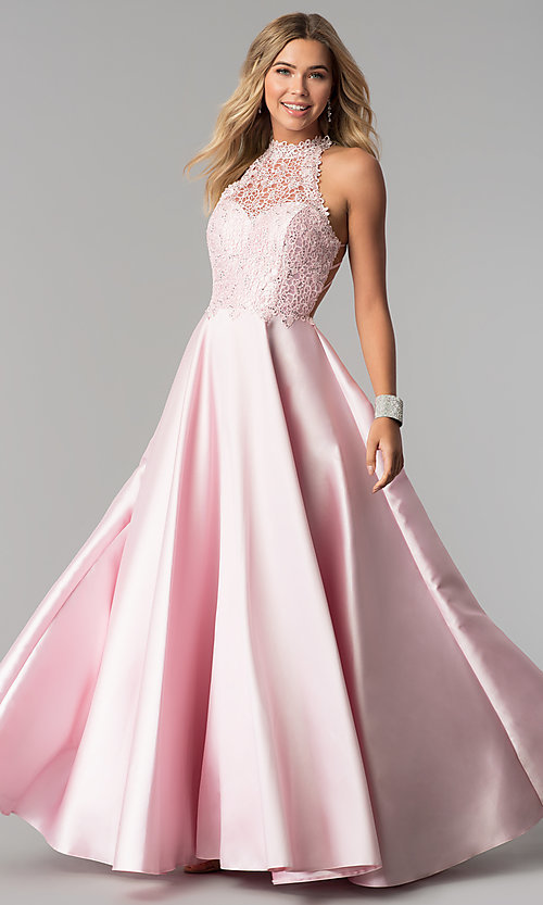 Image of long a-line prom dress with high-neck lace bodice. Style: AL-60060 Front Image