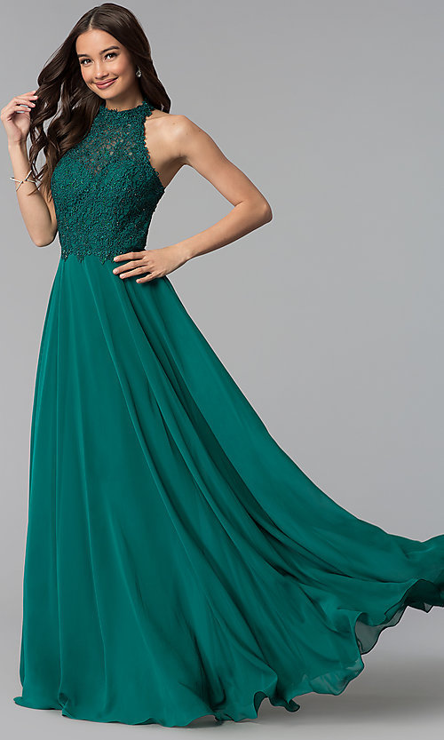 Image of long chiffon formal prom dress with embroidered lace. Style: AL-60061 Detail Image 2