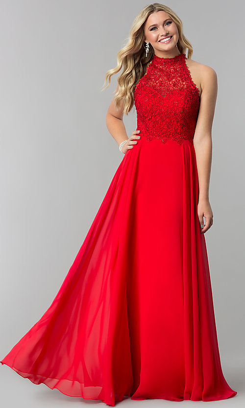 Image of long chiffon formal prom dress with embroidered lace. Style: AL-60061 Detail Image 1
