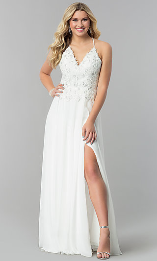 Alyce Long V-Neck Prom Dress with Beaded Embroidery
