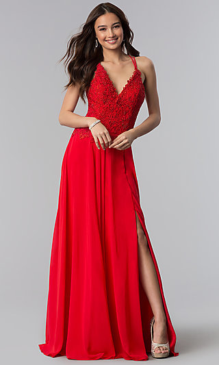 Long Alyce V-Neck Prom Dress with Beaded Embroidery