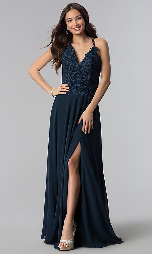 Image of long Alyce v-neck prom dress with beaded embroidery. Style: AL-60062 Detail Image 1