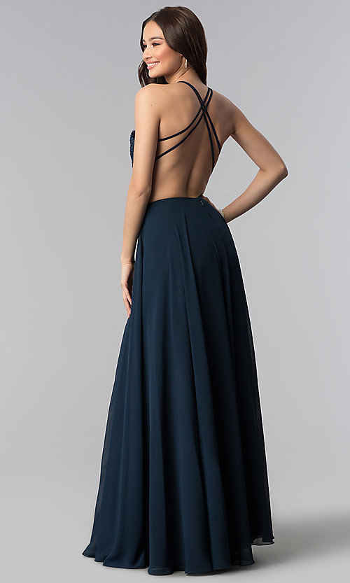 Image of long Alyce v-neck prom dress with beaded embroidery. Style: AL-60062 Back Image
