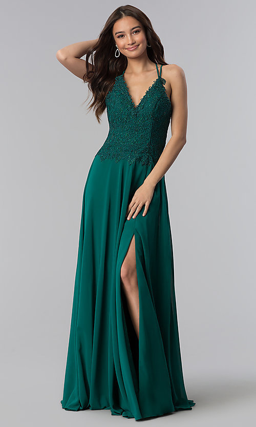 Image of long Alyce v-neck prom dress with beaded embroidery. Style: AL-60062 Detail Image 2