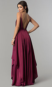 Image of open v-back long prom dress with tiered skirt. Style: AL-60091 Back Image