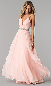 Image of tiered long chiffon prom dress with beaded waist. Style: AL-60092 Detail Image 1