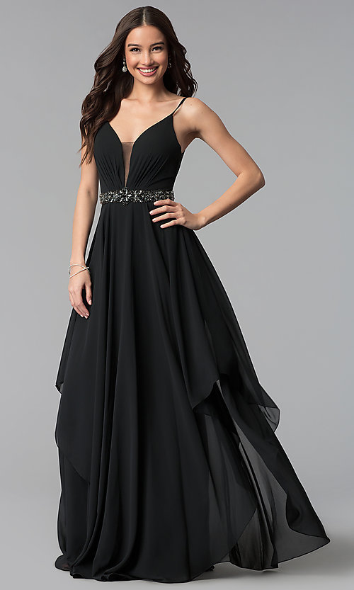 Image of tiered long chiffon prom dress with beaded waist. Style: AL-60092 Detail Image 2