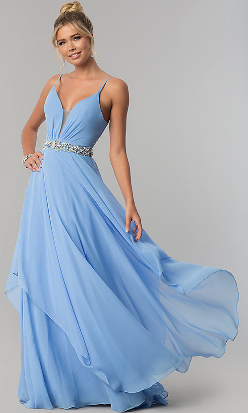 Image of tiered long chiffon prom dress with beaded waist. Style: AL-60092 Front Image