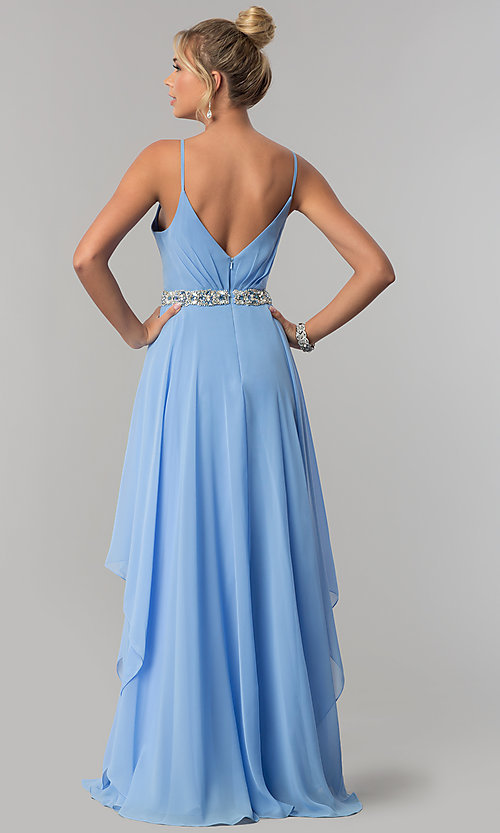Image of tiered long chiffon prom dress with beaded waist. Style: AL-60092 Back Image