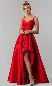 Image of high-low side-slit long taffeta wedding-guest dress. Style: AL-60094 Front Image