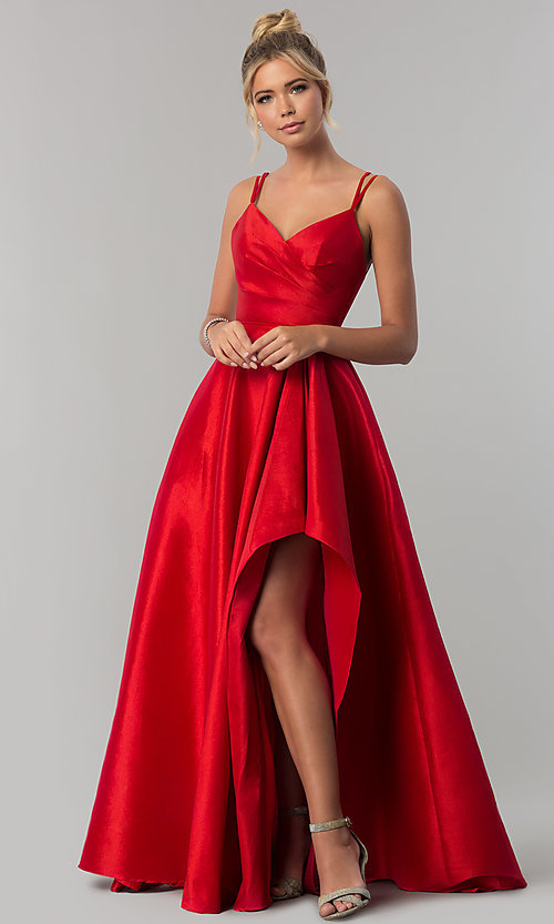 Taffeta Long Wedding Guest Dress With High Low Slit