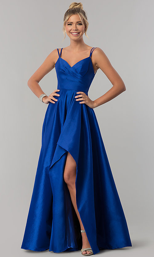 Image of high-low side-slit long taffeta wedding-guest dress. Style: AL-60094 Detail Image 1