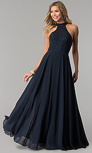Image of Alyce beaded-bodice long chiffon formal dress. Style: AL-60160 Front Image