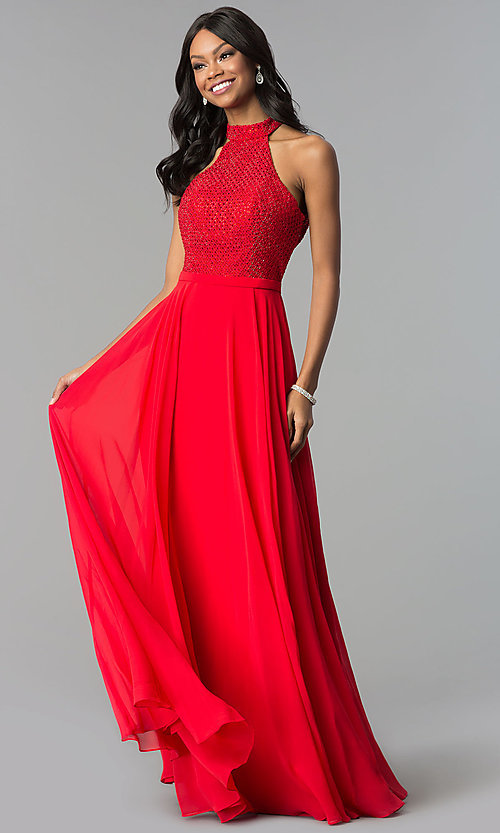 Image of Alyce beaded-bodice long chiffon formal dress. Style: AL-60160 Detail Image 2