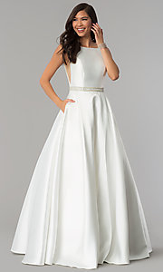 Image of Alyce open-back long formal prom dress with pockets. Style: AL-60113 Detail Image 3