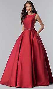 Image of Alyce open-back long formal prom dress with pockets. Style: AL-60113 Detail Image 1