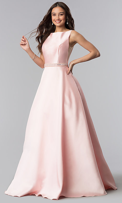 Image of Alyce open-back long formal prom dress with pockets. Style: AL-60113 Detail Image 2
