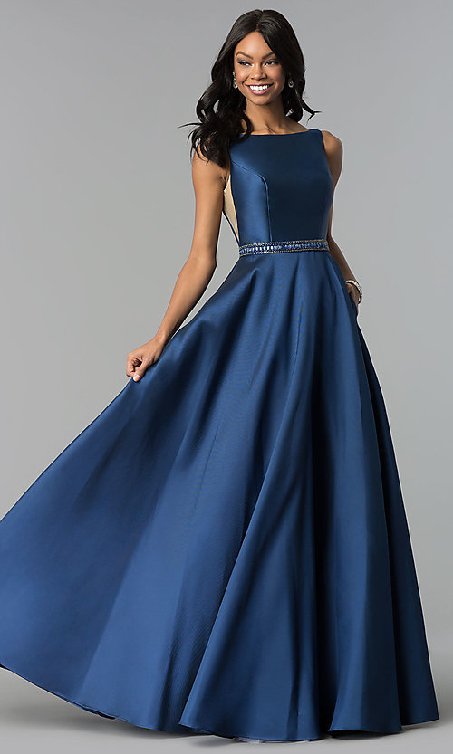 Image of Alyce open-back long formal prom dress with pockets. Style: AL-60113 Front Image