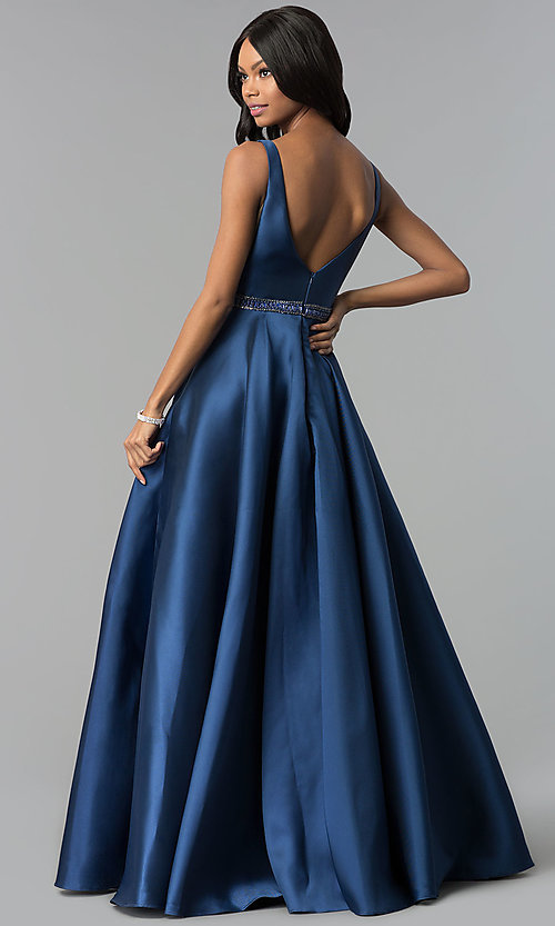 Image of Alyce open-back long formal prom dress with pockets. Style: AL-60113 Back Image