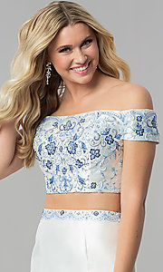 Image of diamond white off-shoulder two-piece long prom dress. Style: AL-60179 Detail Image 1