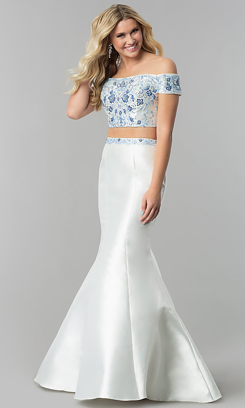 Image of diamond white off-shoulder two-piece long prom dress. Style: AL-60179 Front Image