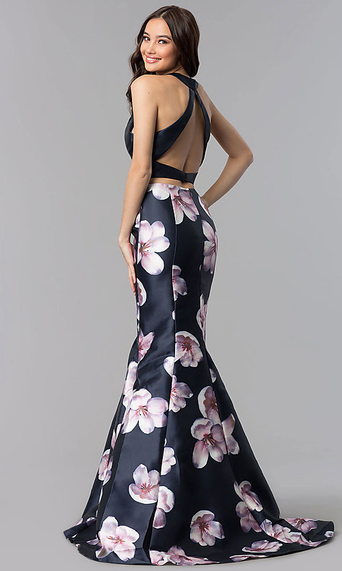 Image of two-piece navy long mermaid prom dress with print. Style: AL-60178-A Back Image