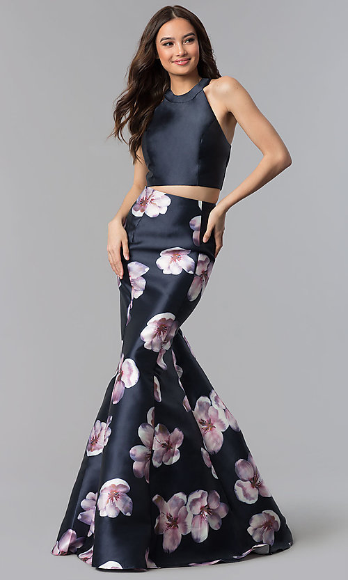 Image of two-piece navy long mermaid prom dress with print. Style: AL-60178-A Front Image