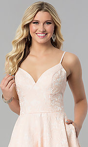 Image of bustier-bodice long Alyce prom dress with pockets. Style: AL-60122 Detail Image 1