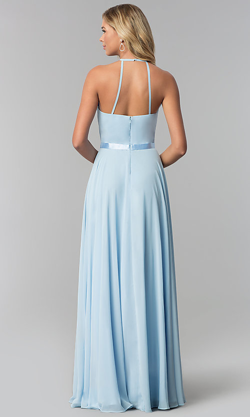 Image of a-line high-neck long chiffon formal dress.  Style: DQ-2176 Back Image