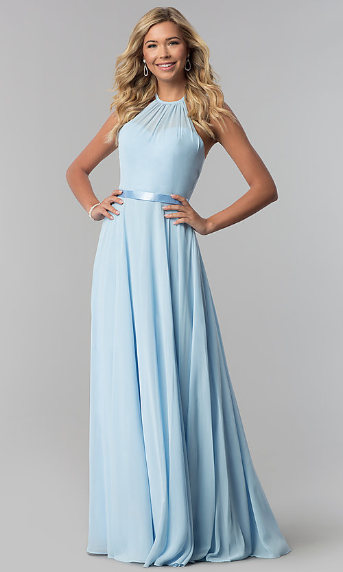 Image of a-line high-neck long chiffon formal dress.  Style: DQ-2176 Detail Image 1