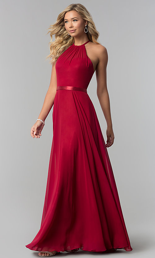 High Neck A Line Long Chiffon Formal Dress