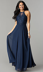 Image of embellished-bodice long formal chiffon prom dress. Style: DQ-2196 Front Image