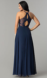 Image of embellished-bodice long formal chiffon prom dress. Style: DQ-2196 Back Image