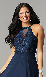 Image of embellished-bodice long formal chiffon prom dress. Style: DQ-2196 Detail Image 1