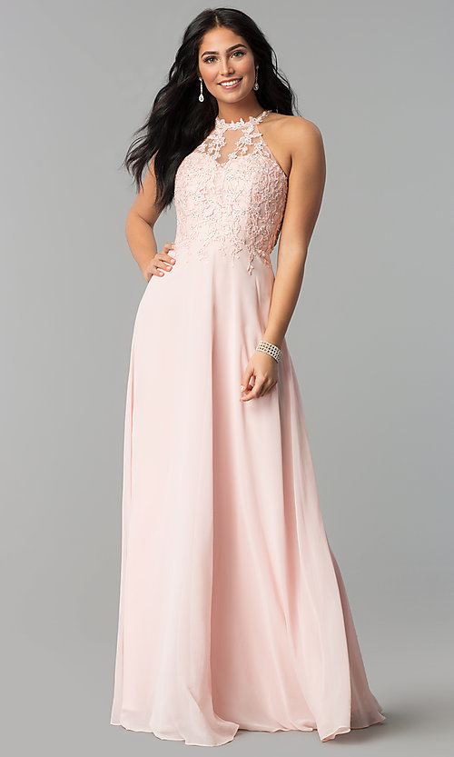 Image of embellished-bodice long formal chiffon prom dress. Style: DQ-2196 Detail Image 2