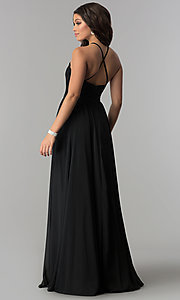 Image of long chiffon prom dress with illusion lace. Style: DQ-2009 Back Image
