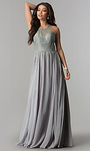Image of long chiffon prom dress with illusion lace. Style: DQ-2009 Detail Image 3