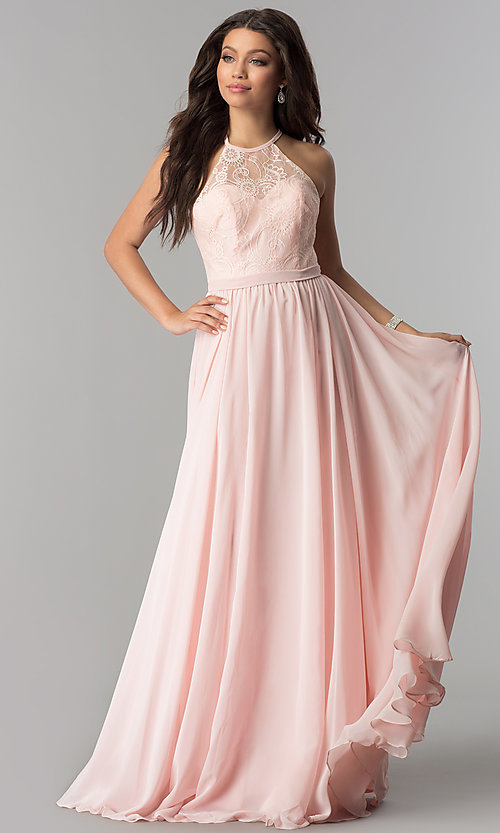 Image of long chiffon prom dress with illusion lace. Style: DQ-2009 Front Image