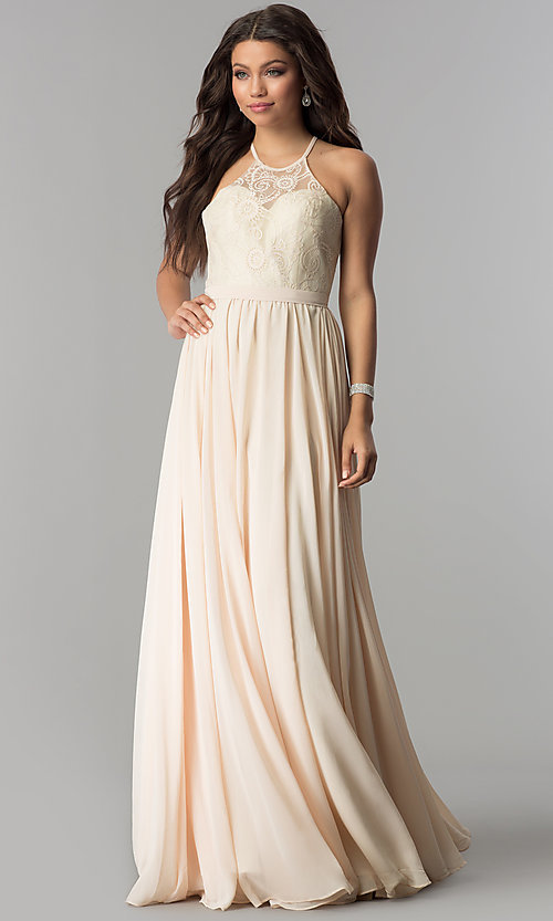 Image of long chiffon prom dress with illusion lace. Style: DQ-2009 Detail Image 1