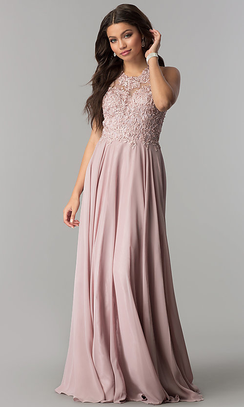 Image of long prom dress with lace-embroidered bodice. Style: DQ-2017 Front Image