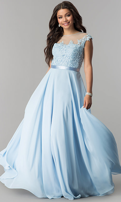 Image of embroidered-bodice chiffon long prom dress. Style: DQ-2121 Detail Image 2