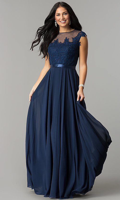 Image of embroidered-bodice chiffon long prom dress. Style: DQ-2121 Front Image