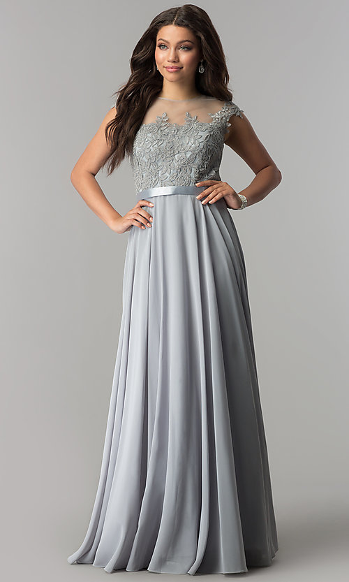 Image of embroidered-bodice chiffon long prom dress. Style: DQ-2121 Detail Image 5