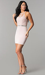 Image of short wedding-guest dress with beaded-lace applique. Style: DQ-2168 Detail Image 2