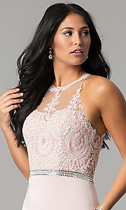 Image of short wedding-guest dress with beaded-lace applique. Style: DQ-2168 Detail Image 1