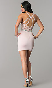 Image of short wedding-guest dress with beaded-lace applique. Style: DQ-2168 Detail Image 3