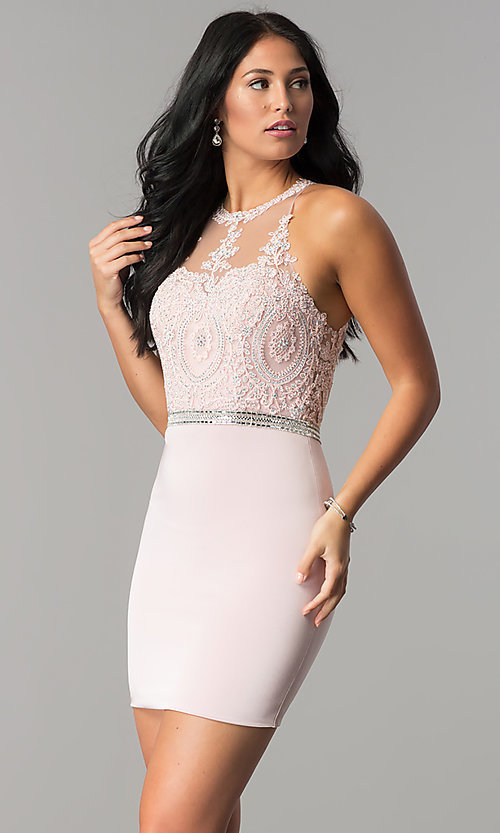 Image of short wedding-guest dress with beaded-lace applique. Style: DQ-2168 Front Image