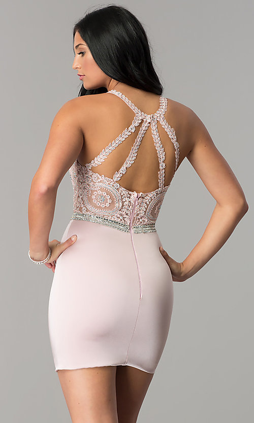 Image of short wedding-guest dress with beaded-lace applique. Style: DQ-2168 Back Image