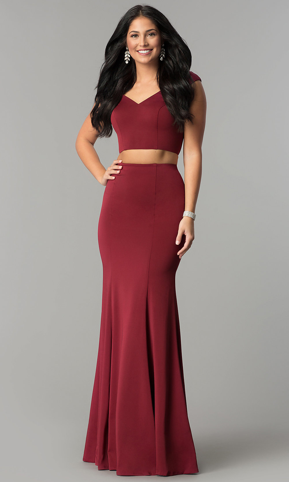 2a3ad8faacf8 Mermaid Off-the-Shoulder Long Two-Piece Prom Dress
